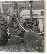 Farmer And His Tractor Wood Print