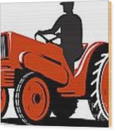 Farmer Driving Vintage Tractor Retro Wood Print