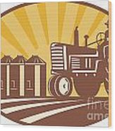 Farmer Driving Vintage Tractor Retro Woodcut Wood Print