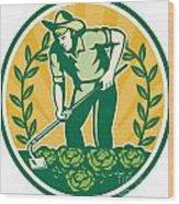 Farmer Gardener With Garden Hoe Cabbage Wood Print by Aloysius Patrimonio