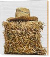Farmer Hat On Hay Bale Wood Print