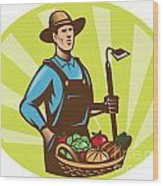Farmer With Garden Hoe And Basket Crop Harvest Wood Print