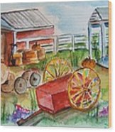 Farmers Backyard Wood Print