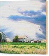 Farmer's Field At Sundown Wood Print