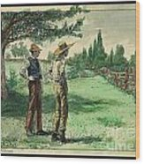 Farmers In Pasture With Trees 1885 Hand Tinted Etching  Wood Print