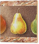 Farmers Market Drive Through Red Yellow And Green Pear Wood Print