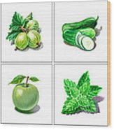 Farmers Market Gifts Green Vitamins Wood Print
