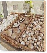 Farmers Market Mushrooms Wood Print
