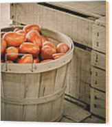 Farmers Market Plum Tomatoes Wood Print by Julie Palencia