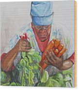 Farmers Market Vendor Wood Print by Sharon Sorrels
