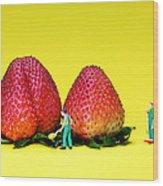 Farmers Working Around Strawberries Wood Print