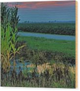 Farm Sunset Wood Print