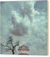 Farmhouse And Tree Wood Print