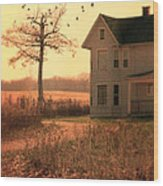 Farmhouse By Tree Wood Print