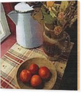 Farmhouse Fruit And Flowers Wood Print