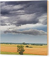 Farmhouse In The Storm Panorama Wood Print
