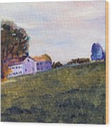 Farmhouse On The Hill Wood Print