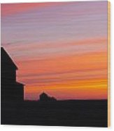Farmhouse Silhouette Wood Print by Gerald Murray Photography