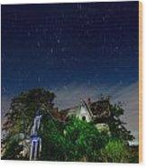 Farmhouse Star Trails.  Wood Print