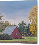 Farmstead With Fall Colors Wood Print by Paul Freidlund