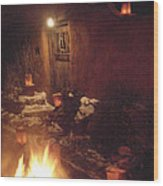 Farolitos And Luminaria Near Door Wood Print
