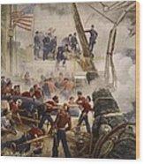 Farragut On The Hartford At Mobile Bay Wood Print