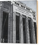 Farrington Field Facade Bw Wood Print
