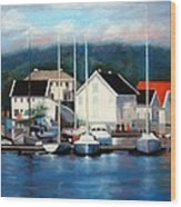 Farsund Dock Scene Painting Wood Print
