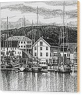 Farsund Dock Scene Pen And Ink Wood Print