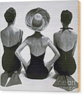 Fashion Models In Swim Suits, 1950 Wood Print