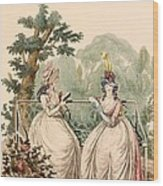 Fashion Plate Of Ladies In Summer Day Wood Print