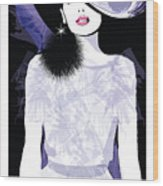 Fashion Woman Model With A Black Hat - Wood Print