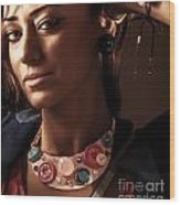 Fashionable Woman Portrait Wood Print