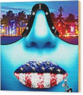 Fashionista Miami Blue Wood Print