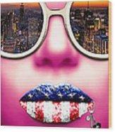Fashionista New York Pink Wood Print