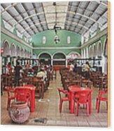 Fast Food Hall In Valladolid Wood Print