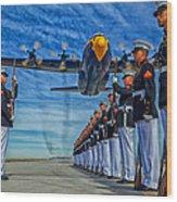 Fat Albert Over The Usmc Silent Drill Team Wood Print