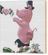 Fat British Bank Pig Getting Government Handout Wood Print by Martin Davey