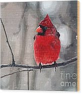 Fat Cardinal In The Snow Wood Print