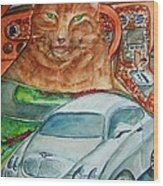 Fat Cat And The Bentley Wood Print