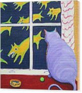 Fat Inside Cat - Why Fluffie Can Not Possibly Go Out Wood Print