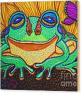 Fat Green Frog On A Sunflower Wood Print