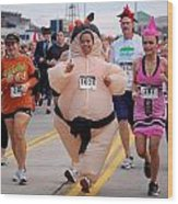 Fat Lady Ghost Goblin 5k Runners In Costumes Wood Print