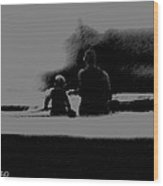 Father And Son Enjoying The Day Wood Print