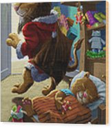 Father Christmas Lion Delivering Presents Wood Print by Martin Davey