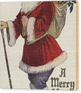Father Christmas With A Bag Of Toys Wood Print