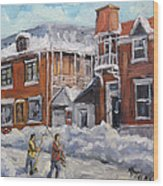 Faubourg A Melasse Montreal - Joys Of Winter By Prankearts Wood Print