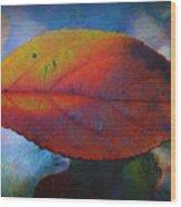 Fauvist Hydrangea Leaf Wood Print