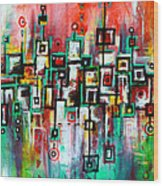Favelas - Abstract Art By Laura Gomez Wood Print