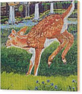Fawn In The Holle Wood Print